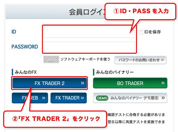 FX-TRADER2でログイン